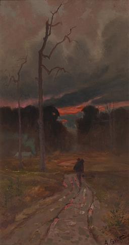Sale 9161A - Lot 5064 - ARTHUR COLLINGRIDGE DE TOURCEY (1853 - 1907) - The Traveller 44 x 23.5 cm (frame: 53 x 32 x 4 cm)
