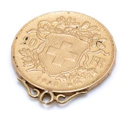 Sale 9169 - Lot 304 - A 20 FRANCS GOLD COIN PENDANT; Helvitia and Coat of Arms of Switzerland, 22ct gold, width 20.86mm, scroll surmount, wt. 6.57g.