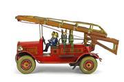 Sale 8330T - Lot 65 - CK (Kuramochi) Japanese Tinplate Clockwork Hook and Ladder Fire Engine; c. 1920s copying James Distler design with extension ladder...
