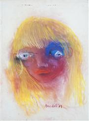Sale 8410A - Lot 5029 - Anne Hall (1945 - ) - Untitled, 1967 (Blonde Girl with Pink Face) 76.5 x 56cm (sheet size)