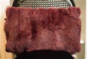 Sale 8448A - Lot 9 - Merlot soft rabbit fur lumbar cushion 52cm x 32cm Condition: New