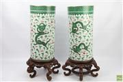Sale 8652W - Lot 10 - Pair of Chinese Green Dragon Stick Stands with Timber Stands - wedding gift Hong Kong 1958