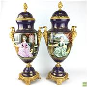 Sale 8649R - Lot 88 - Pair of Sevres Style Lidded Urns Depicting Court Scenes (H: 71cm)