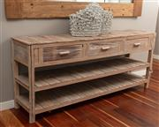 Sale 8904H - Lot 11 - A driftwood console table comprising three drawers over two shelves. Height 86cm x Width 201cm x Depth 45cm