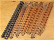 Sale 8984W - Lot 535 - Six adjustable campaign style timber tripod legs - unextended length 57cm, some bearing British Made Ensign. Together with a tripod...