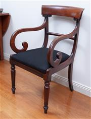 Sale 9005H - Lot 22 - A William IV mahogany carver armchair with scroll arm supports and bar back with a black upholstered cotton seat, Height of back 92cm
