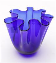 Sale 9049 - Lot 11 - Italian cobalt blue glass handkerchief vase (H14.5cm)