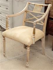Sale 9060H - Lot 99 - An Empire style salon chair with ivory gilt finish and upholstered seat. Height of back 88cm width 62cm