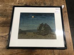Sale 9152 - Lot 2057D - Artist Unknown Haystacks, Belgium colour woodcut, frame: 24 x 28 cm, -