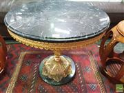 Sale 8424 - Lot 1060 - Brass Metal Wine Table with Marble Top
