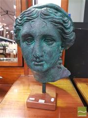 Sale 8444 - Lot 1018A - A Verdigris Head of Aphrodite on Timber Plinth, measurements: 48cm high, composition: plaster & fiberglass