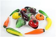 Sale 8461 - Lot 14 - Art Glass Fruit with a Metal Centrepiece