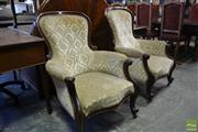 Sale 8520 - Lot 1027 - Two Similar Victorian Mahogany Armchairs, with balloon backs & cream cut-moquette velvet upholstery