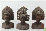 Sale 8594D - Lot 1 - Indonesian Timber Busts (Damage to One)