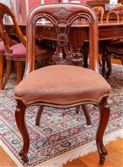 Sale 8649A - Lot 25 - Six Victorian mahogany spoon back dining chairs with carved splat and dusty velvet seats, carved cabriole legs to front, height 92cm