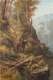 Sale 8755 - Lot 559 - James Waltham Curtis (c1839 - 1901) - Bushman on Horseback, 1894 52 x 34cm