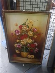 Sale 8833 - Lot 2056 - Framed Still Life Acrylic Painting Signed Lower Right