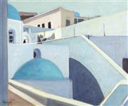 Sale 9055A - Lot 5097 - C. Angel - Isle of Santorini, Greece 36.5 x 44.5 cm (frame: 43 x 51 x 2 cm)