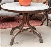Sale 9060H - Lot 100 - An oval form occasional table, the marble top raised over a quadruped bentwood base. Height 77 x 96 x 70cm