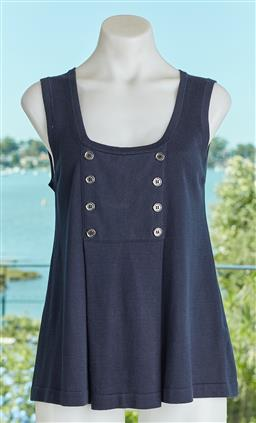 Sale 9120K - Lot 60 - A Burberry London cotton sleeveless top; with double breasted design. Size M