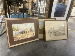 Sale 9113 - Lot 2046 - A group of three Australian School works, Central Australian Landscape, Cottage & A Yarn on the Jetty