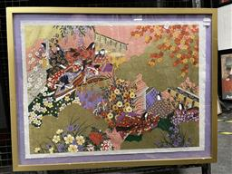 Sale 9113 - Lot 2021 - A Contemporary Japanese woodblock print depicting Royal Garden Scene, 59 x 76cm (frame)