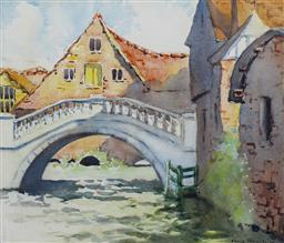 Sale 9137A - Lot 5007 - Elma Roach (1897 - 1942) - The Bridge 26 x 30 cm (frame: 44.5 x 48 x 3 cm)