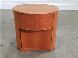 Sale 9191 - Lot 1032 - Two drawer oval bedside chests (h:56 x w:52 x d:44cm)