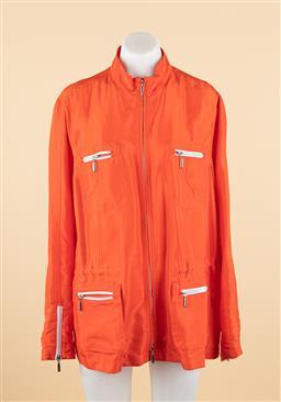 Sale 9250F - Lot 84 - A Marina Rinaldi orange jacket with multiple zip pockets, size M.