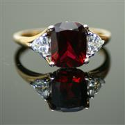 Sale 8347J - Lot 322 - A 9CT GOLD GEMSET RING; set with synthetic ruby and cubic zirconias, size M.