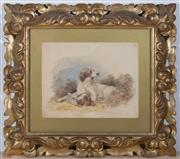 Sale 8375A - Lot 19 - A work on paper of a Springer spaniel with a pheasant in a gilt Florentine style frame