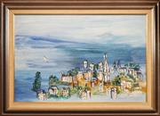 Sale 8443 - Lot 521 - Ian Van Wieringen (1944 - ) - Town by the Sea 46 x 70.5cm