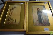 Sale 8518 - Lot 2076 - 2 Framed Oriental Watercolours