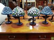 Sale 8562 - Lot 1030 - Set of Four Leadlight Shade Table Lamps