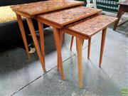 Sale 8625 - Lot 1094 - Nest of Three Inlaid Tables (W: 57cm) -