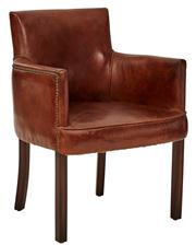 Sale 8716A - Lot 93 - A pair of hand aged leather carver style occasional chairs, H85cm x W59cm x D63cm