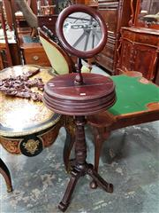 Sale 8728 - Lot 1080 - Victorian Probably Walnut Shaving Stand, with round mirror, two hinged compartments & turned pedestal