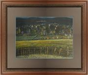 Sale 8734A - Lot 42 - Artist Unknown - Countryside with distant village 84 x 95cm (frame size)