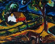 Sale 8976A - Lot 5033 - David Larwill (1956 - 2011) - House in Landscape 60 x 74 cm (freame: 64 x 78 x 3 cm)