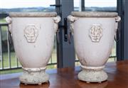 Sale 9005H - Lot 19 - A pair of French provincial jardinières with mushroom glaze and iron ring handles, Height 34cm x Diameter 27cm