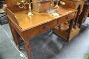 Sale 8317 - Lot 1047 - Victorian Oak Washstand, with gallery back, two drawers & turned legs