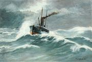 Sale 8519 - Lot 577 - William Huddlestone (1858 - 1915) - Stormy Seas 30 x 45.5cm