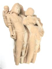 Sale 8699A - Lot 785 - Indian Sandstone Carved Erotic Figural Group, height 51cm - possibly an C11th Khajuraho example