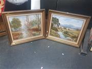 Sale 8833 - Lot 2040 - Hans Larsen (2 works) Country and Australian Bush Scene oil paintings, each sogned