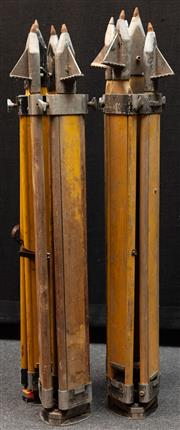 Sale 8984W - Lot 547 - A group of four surveyors tripods in predominantly timber with metal spikes. Approx height 108cm