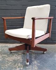 Sale 8984 - Lot 1083 - Vintage Parker Teak Office Chair (H:82 x W:64 x D:53cm)