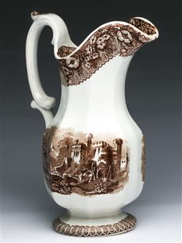 Sale 9093P - Lot 65 - Victorian Ceramic Jug with Printed Castle Scene in Brown (H: 23 cm)