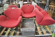 Sale 8406 - Lot 1072 - Set of Five Red Upholstered Swan Style  Chairs