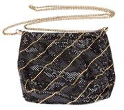 Sale 8640F - Lot 69 - A vintage black and gold mesh evening bag with gilt shoulder strap, W 18cm.