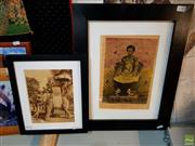Sale 8619 - Lot 2054 - 2 Indochine Decorative Engraving and Photographic Print, 48 x 38; 31 x 26cm (frame size)
